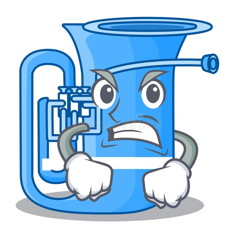Verärgerte Tuba in der lustigen Karikatur der Form vektor abbildung