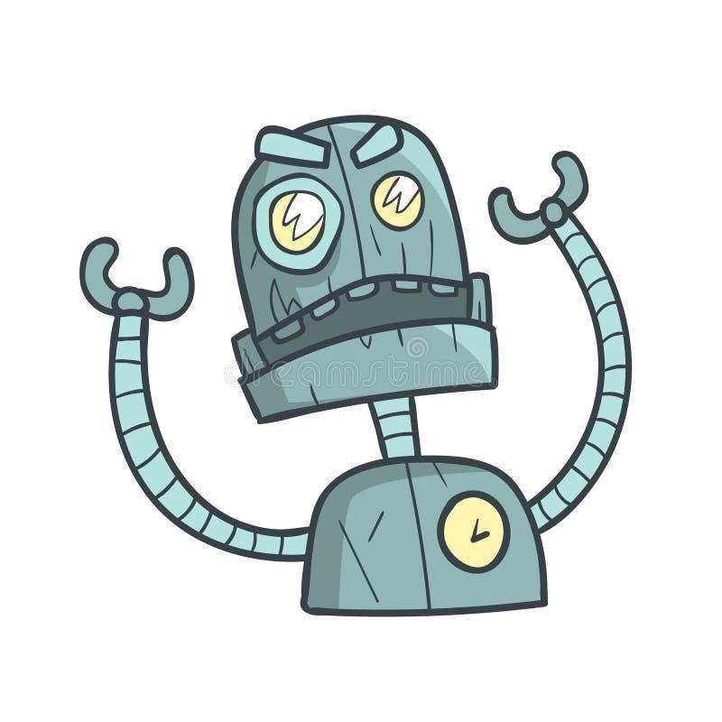 Verärgerte und gestörte blaue Roboter-Karikatur umrissene Illustration mit nettem Android und seinen Gefühlen vektor abbildung