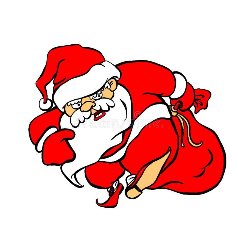 Verärgerte und schlechte Santa Claus Ded Moroz kommt mit einer großen Geschenktasche lizenzfreie abbildung