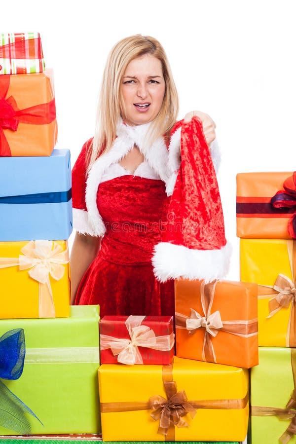 Verärgerte Weihnachtsfrau lizenzfreie stockbilder