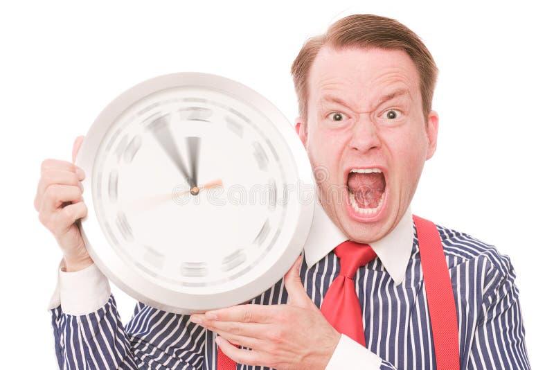 Verärgerte Zeit (spinnende Uhrzeigerversion) stockfoto