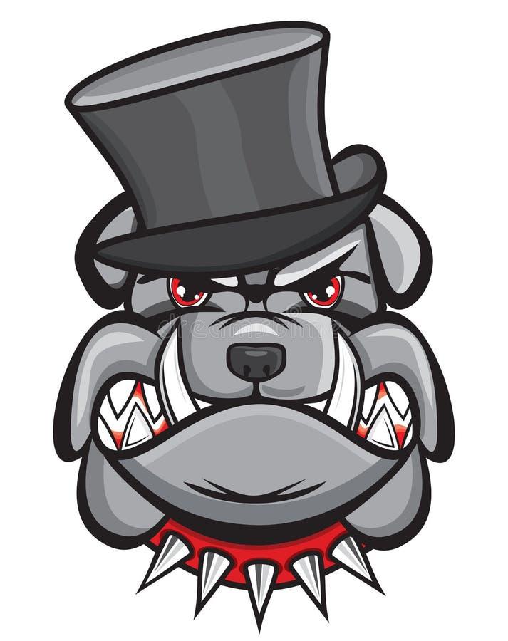 Verärgerter Bulldoggenkopf mit Hut stock abbildung
