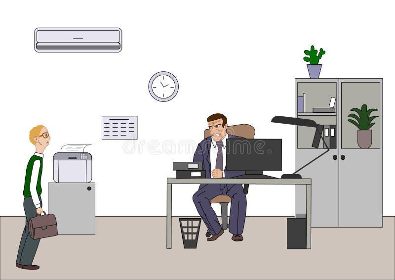 Verärgerter Chef mit Angestelltem Direktornsorgen über schlechte Ergebnisse und und Punkt am Diagramm am flipchart im Büro  lizenzfreie abbildung