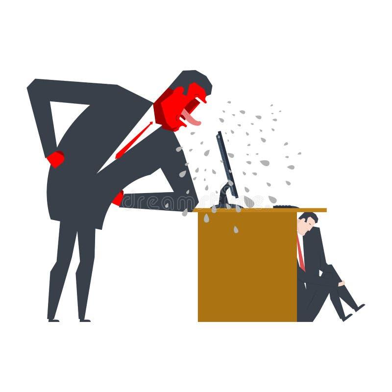 Verärgerter Chef schilt Manager Manager versteckt sich unter Tabelle O stock abbildung