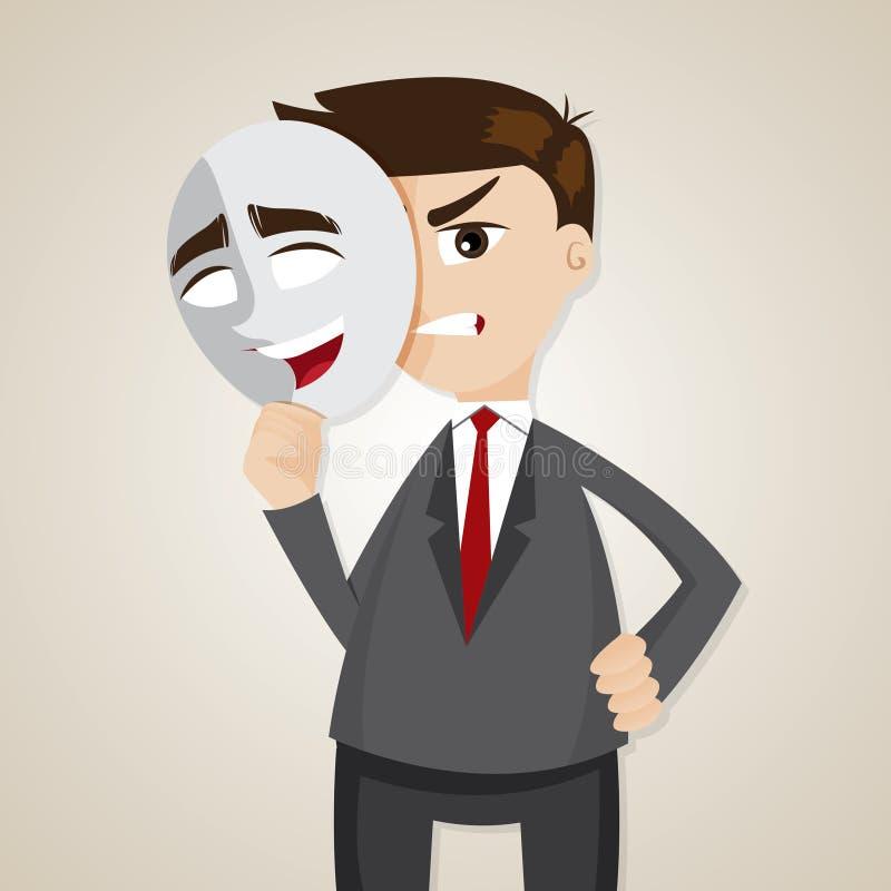 Verärgerter Geschäftsmann der Karikatur unter glücklicher Maske lizenzfreie abbildung