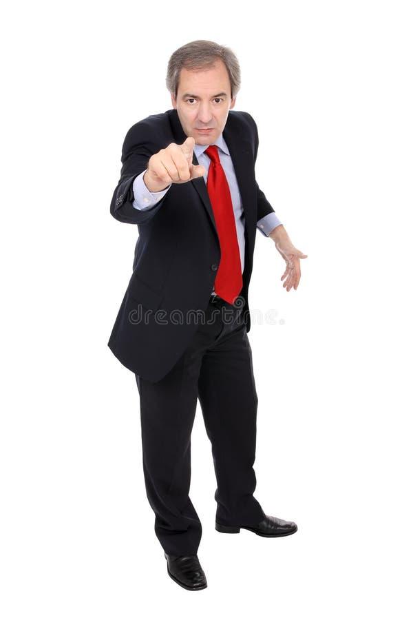 Verärgerter Geschäftsmann, der seinen Finger zeigt lizenzfreies stockfoto