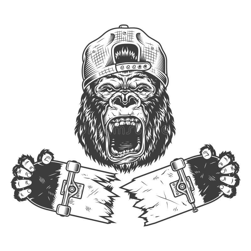 Verärgerter Gorilla geknacktes Skateboard lizenzfreie abbildung