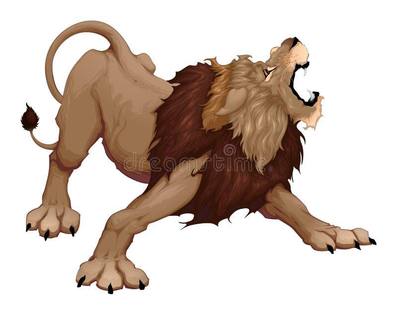 Verärgerter Löwe brüllt stock abbildung