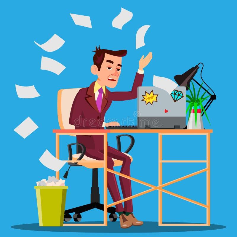 Verärgerter Manager Siting At Table zerknittert das Papier und das Werfen es im Papierkorb-Vektor Getrennte Abbildung lizenzfreie abbildung