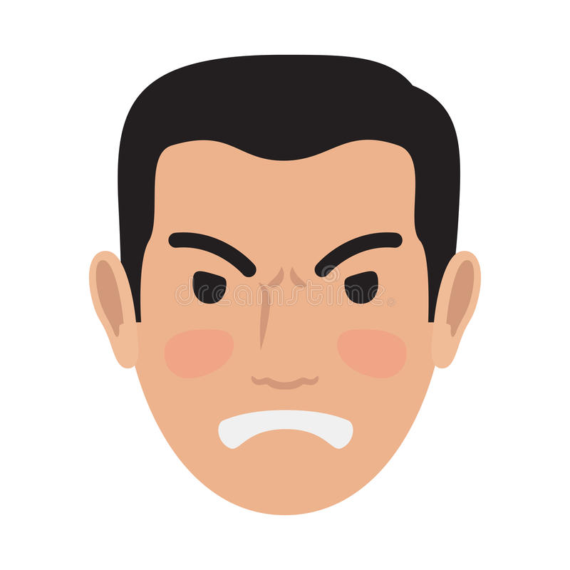 Verärgerter Mann-Avatara-Benutzer Pic Front Head View Vector vektor abbildung