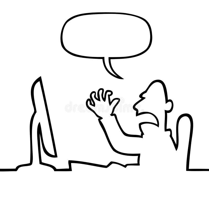 Verärgerter Mann, der an seinem Computer schreit lizenzfreie abbildung