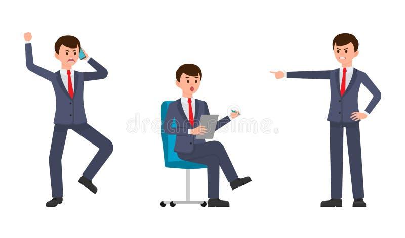 Verärgerter Mann im dunkelblauen Anzug schreiend auf dem Smartphone, Finger zeigend Überraschter Mann, der auf Stuhl sitzt und An lizenzfreie abbildung