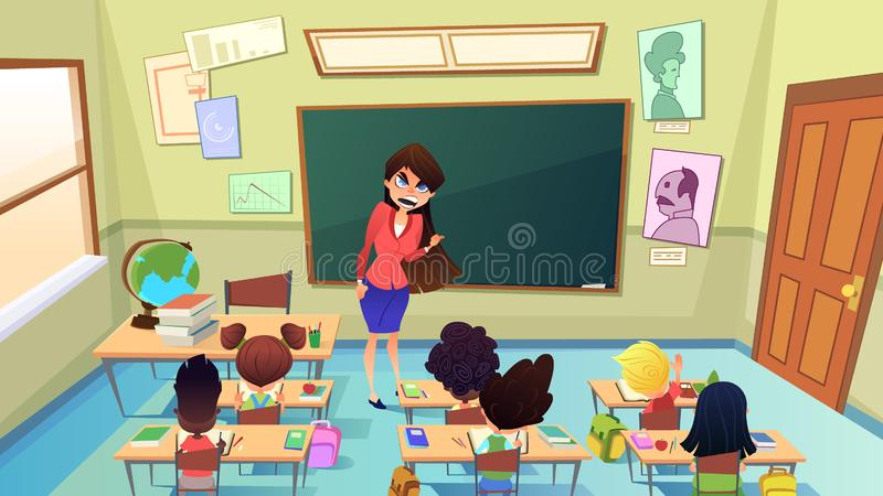 Verärgerter nervöser Lehrer Cartoon Vector Concept stock abbildung