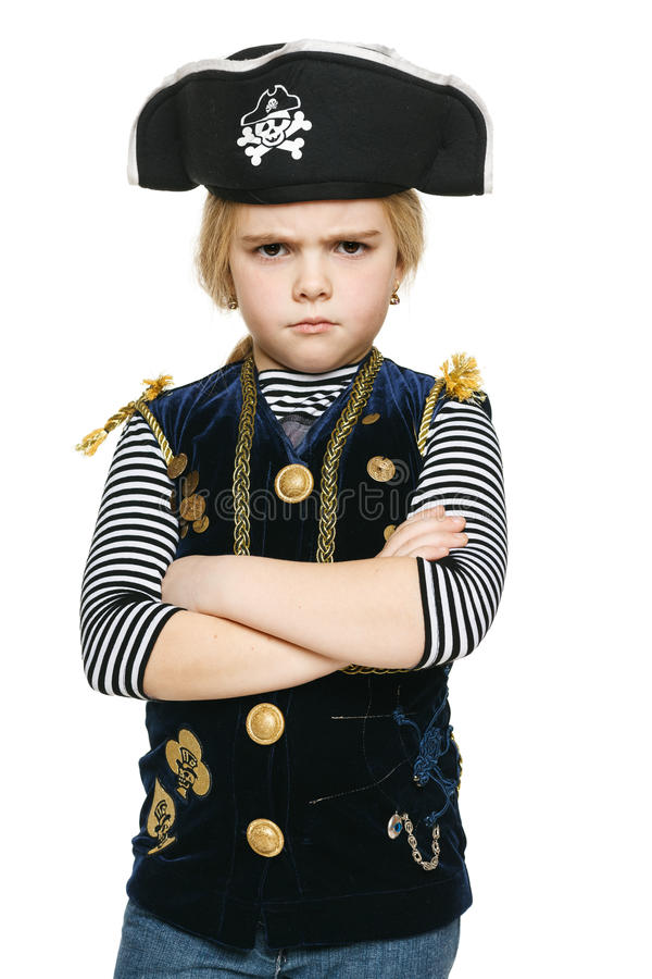 Verärgerter Pirat des kleinen Mädchens lizenzfreie stockfotos