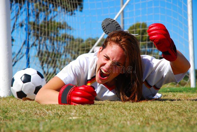 Verärgerter schreiender Fußballspieler lizenzfreies stockfoto