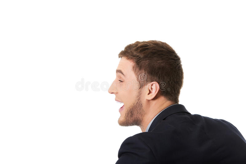 Verärgerter schreiender Geschäftsmann stockbild