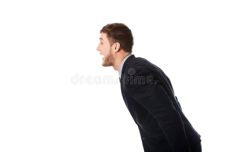Verärgerter schreiender Geschäftsmann lizenzfreies stockbild