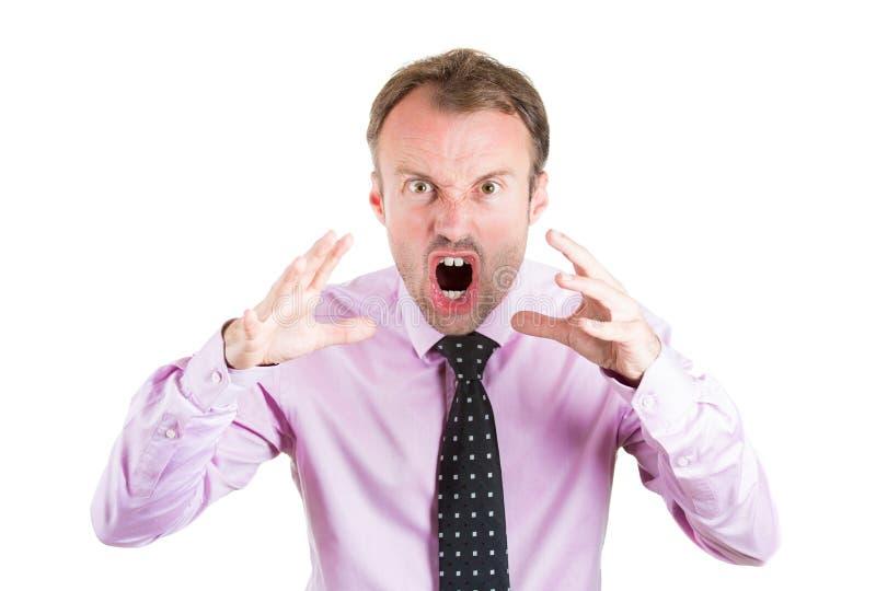 Verärgerter, schreiender Geschäftsmann, Chef, Exekutive, Arbeitskraft, Angestellter, der einen Konflikt in seinem Leben durchläuft stockfotos