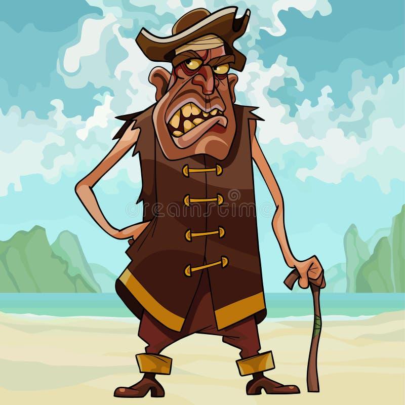 Verärgerter toothy Mann der Karikatur in der Piratenkleidung vektor abbildung