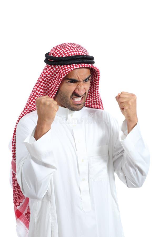 Verärgerter und wütender arabischer saudischer Mann lizenzfreie stockfotos