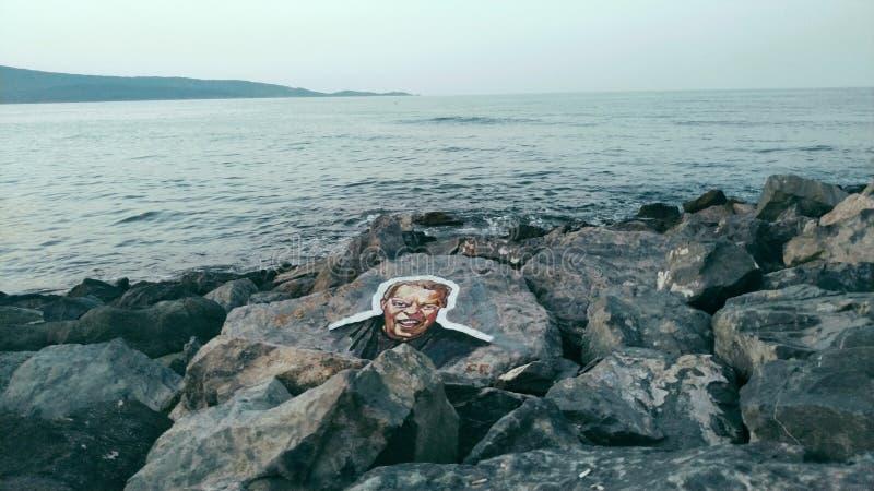 Verärgertes Gesicht auf einem Felsen lizenzfreies stockbild