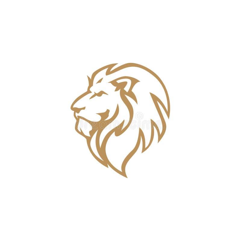 Verärgertes Gold Lion Head, Vektor Logo Design, Illustration, Schablone vektor abbildung