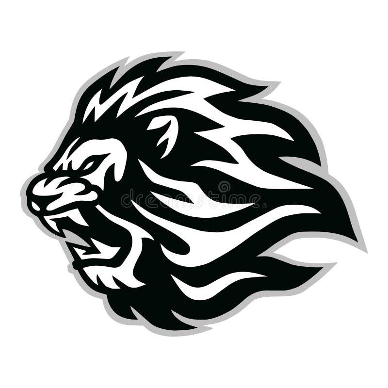 Verärgertes Lion Head Logo Vector Icon-Entwurfs-Maskottchen lizenzfreie stockbilder