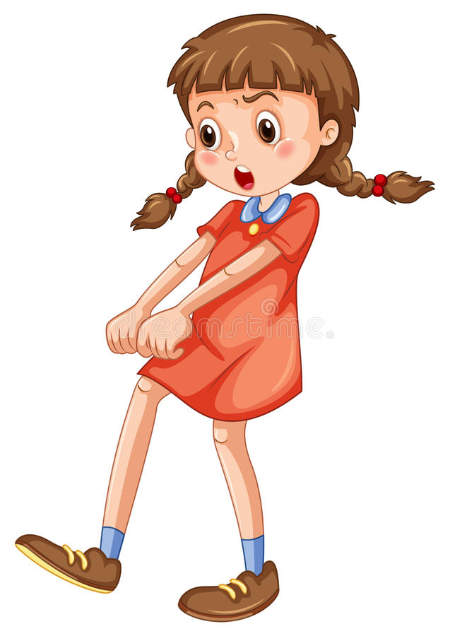 Verärgertes Mädchen im roten Fighting vektor abbildung
