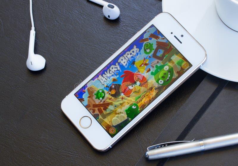 Verärgertes Vogelspiel auf Iphone stockfoto