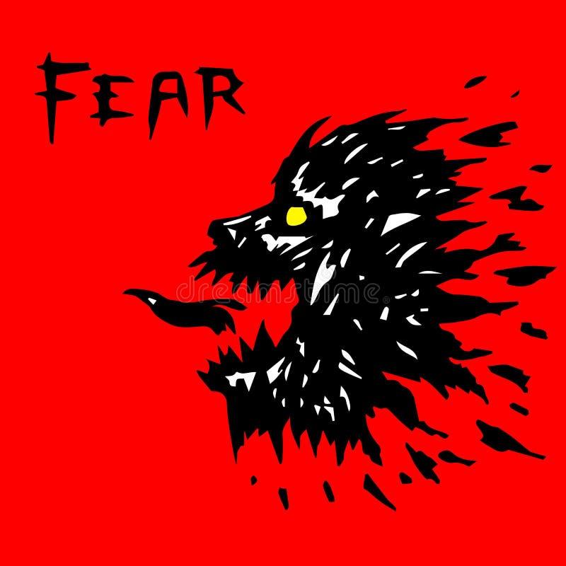 Verärgertes Werwolfkopfschattenbild Auch im corel abgehobenen Betrag vektor abbildung