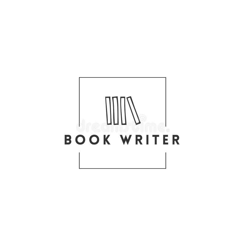 Veröffentlichen, Schreibens- und Copyrightthema Handgezogene Vektor-Logoschablone mit Büchern in einer herein quadratischen Form stock abbildung