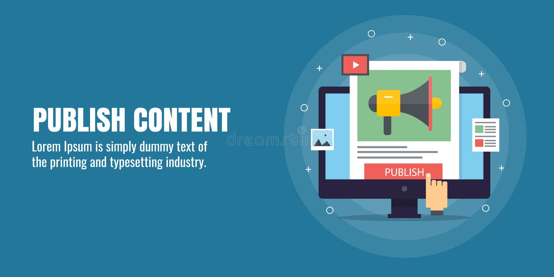Veröffentlichen Sie Marketing des zufriedenen, digitalen Inhalts, Entwicklung, Verteilung, Veröffentlichung, zufriedene Förderung stock abbildung