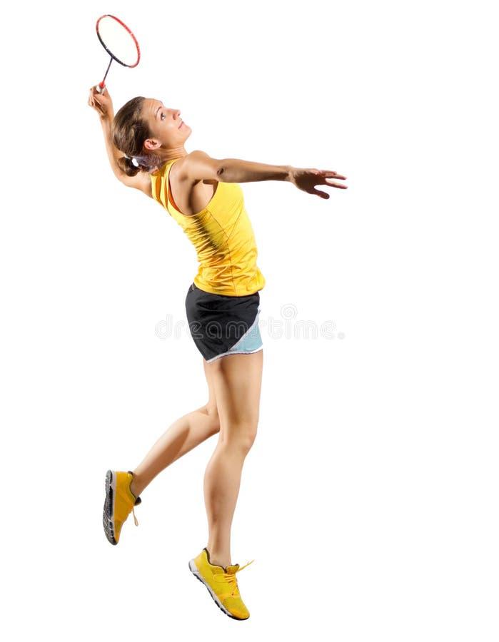 Ver игрока бадминтона молодой женщины без shuttlecock стоковые фото