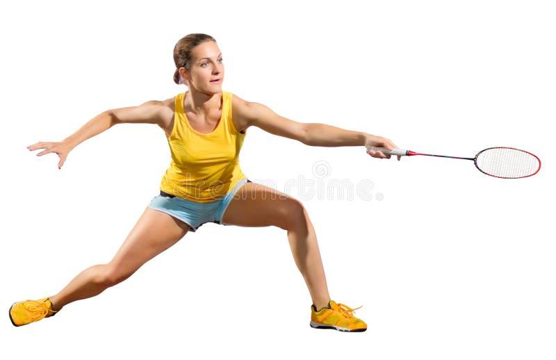 Ver игрока бадминтона молодой женщины без shuttlecock стоковое фото