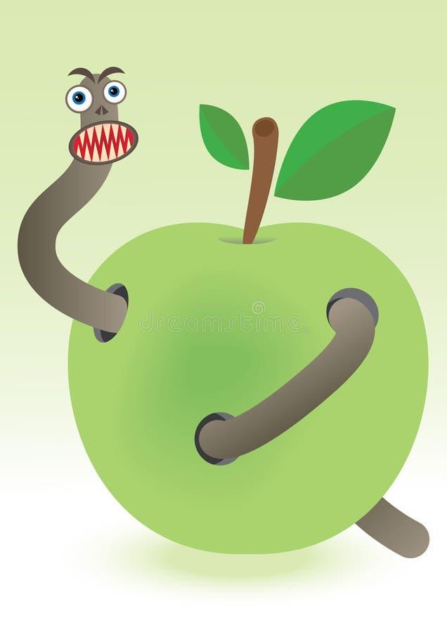 ver de terre dans la pomme illustration de vecteur illustration du repas 21516729. Black Bedroom Furniture Sets. Home Design Ideas