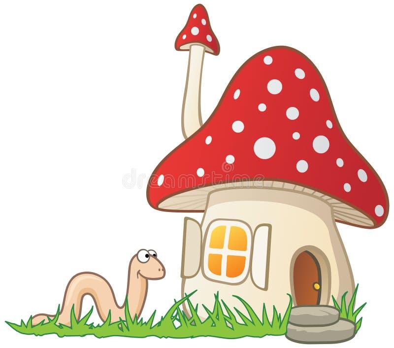 ver de terre de champignon de couche de maison illustration libre de droits
