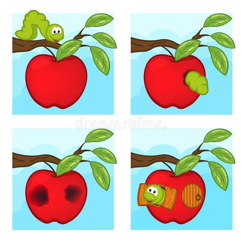 Ver de terre et pomme illustration libre de droits