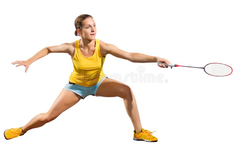 Ver del jugador del bádminton de la mujer joven sin volante foto de archivo