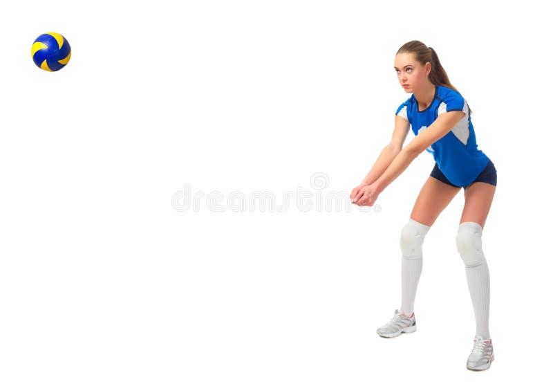 Ver del jugador de voleibol de la mujer con la bola imagen de archivo