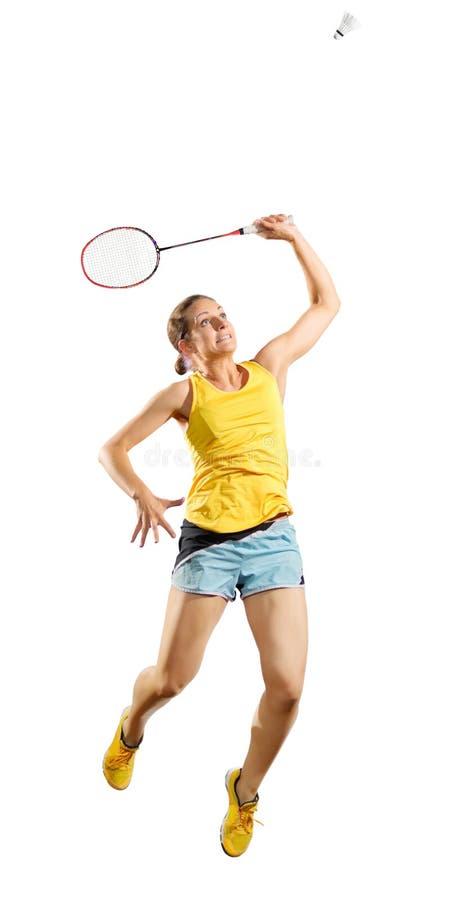 Ver do jogador do badminton da jovem mulher com peteca imagem de stock royalty free