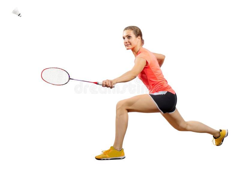 Ver do jogador do badminton da jovem mulher com peteca foto de stock royalty free