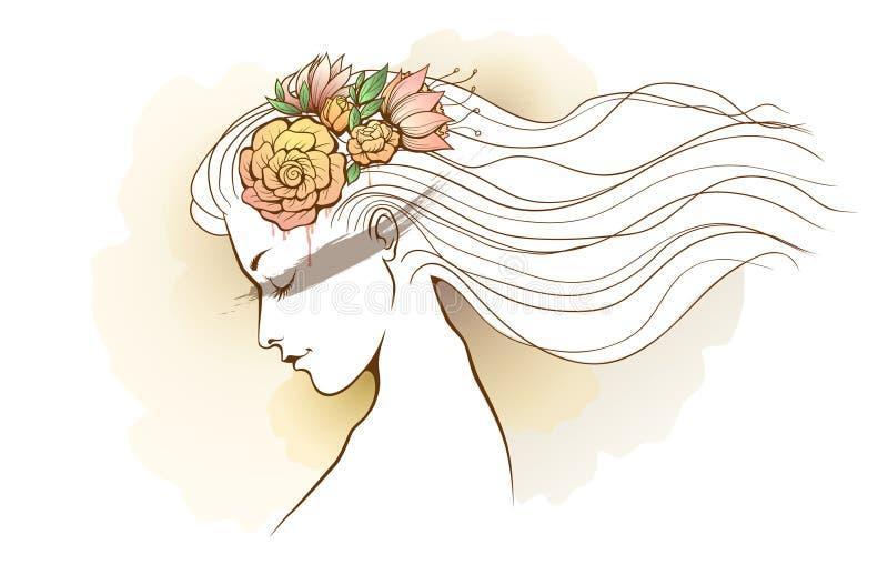 Ver floral d'aquarelle de fille illustration stock