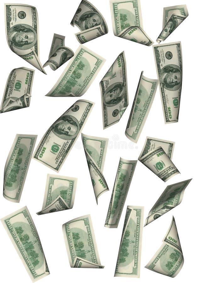 Ver geïsoleerdeo de regen van de dollar betwe stock illustratie