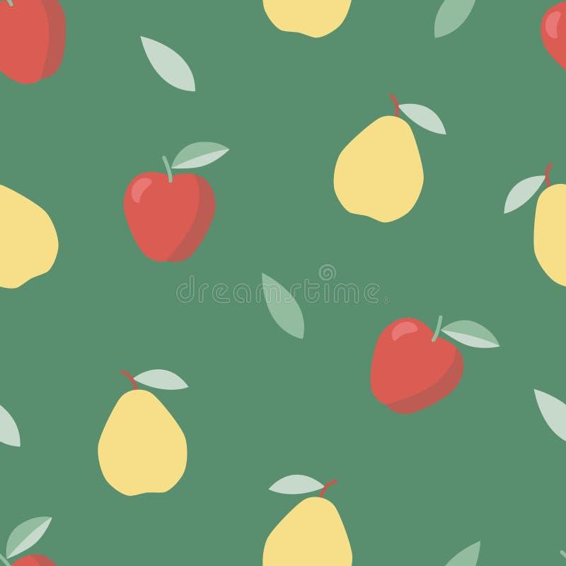 ver?o, alimento doce Dieta vegetal Teste padrão colorido com maçã e pera ilustração royalty free