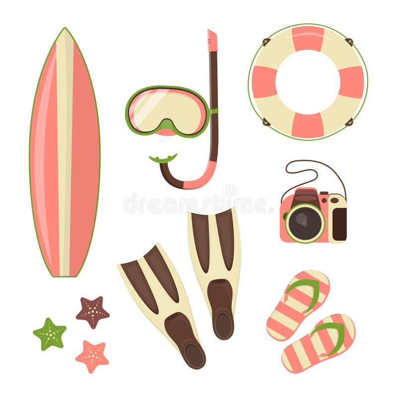 ver?o dos elementos do projeto do feriado da praia ilustração do vetor