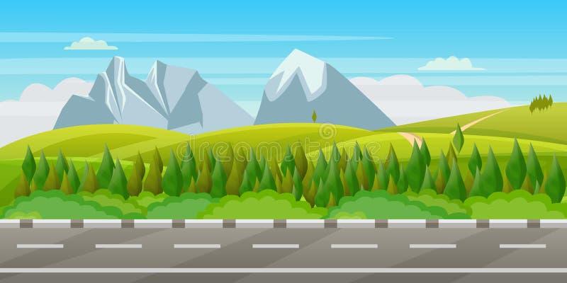 ver?o, paisagem verde da mola Vector a ilustra??o dos montes, dos prados e das montanhas ilustração stock