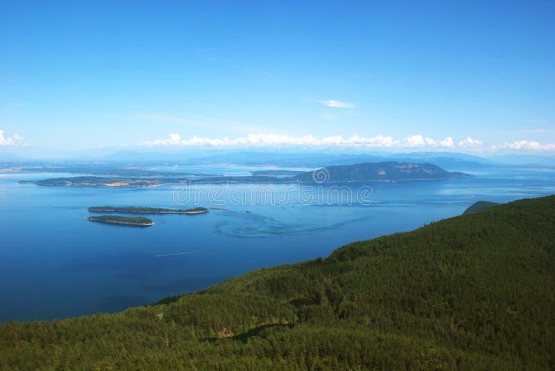 Ver a partir do Mt Constituição, Ilhas Orcas fotografia de stock