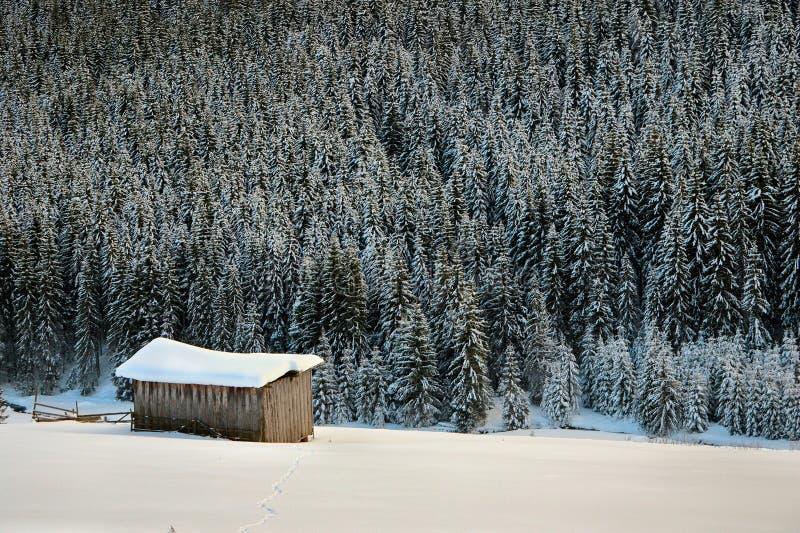 Ver plattelandshuisje in de bergen stock fotografie