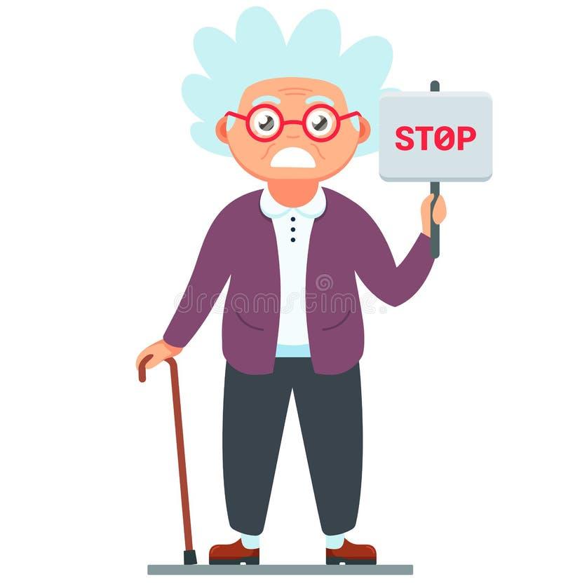 Ver?rgerte alte Frau mit einem Stoppschild Illustration des Großmuttercharakters mit einem Stock in der Hand vektor abbildung