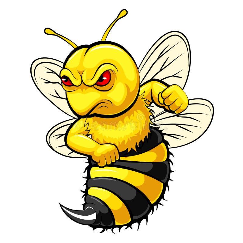 Ver?rgertes Bienenmaskottchen vektor abbildung